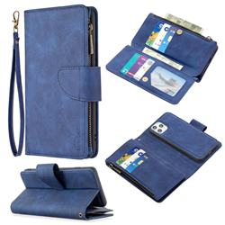 Binfen Color BF02 Sensory Buckle Zipper Multifunction Leather Phone Wallet for iPhone 11 Pro Max (6.5 inch) - Blue