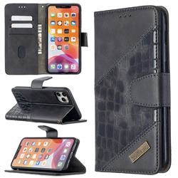 BinfenColor BF04 Color Block Stitching Crocodile Leather Case Cover for iPhone 11 Pro Max (6.5 inch) - Black