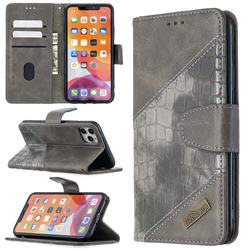 BinfenColor BF04 Color Block Stitching Crocodile Leather Case Cover for iPhone 11 Pro Max (6.5 inch) - Gray