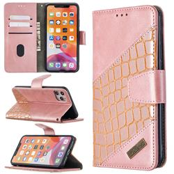 BinfenColor BF04 Color Block Stitching Crocodile Leather Case Cover for iPhone 11 Pro Max (6.5 inch) - Rose Gold