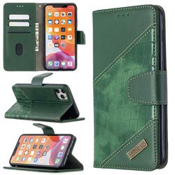 BinfenColor BF04 Color Block Stitching Crocodile Leather Case Cover for iPhone 11 Pro Max (6.5 inch) - Green