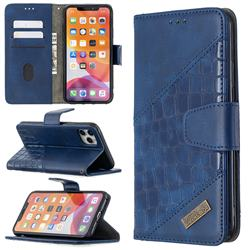 BinfenColor BF04 Color Block Stitching Crocodile Leather Case Cover for iPhone 11 Pro Max (6.5 inch) - Blue