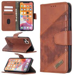BinfenColor BF04 Color Block Stitching Crocodile Leather Case Cover for iPhone 11 Pro Max (6.5 inch) - Brown