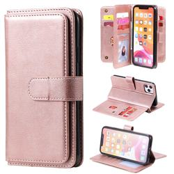 Multi-function Ten Card Slots and Photo Frame PU Leather Wallet Phone Case Cover for iPhone 11 Pro Max (6.5 inch) - Rose Gold