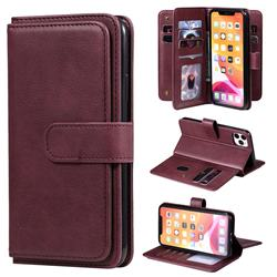 Multi-function Ten Card Slots and Photo Frame PU Leather Wallet Phone Case Cover for iPhone 11 Pro Max (6.5 inch) - Claret