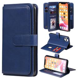 Multi-function Ten Card Slots and Photo Frame PU Leather Wallet Phone Case Cover for iPhone 11 Pro Max (6.5 inch) - Dark Blue