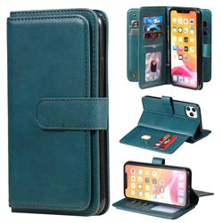 Multi-function Ten Card Slots and Photo Frame PU Leather Wallet Phone Case Cover for iPhone 11 Pro Max (6.5 inch) - Dark Green