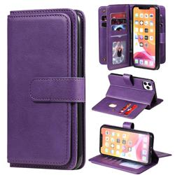 Multi-function Ten Card Slots and Photo Frame PU Leather Wallet Phone Case Cover for iPhone 11 Pro Max (6.5 inch) - Violet
