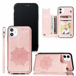 Luxury Mandala Multi-function Magnetic Card Slots Stand Leather Back Cover for iPhone 11 Pro Max (6.5 inch) - Rose Gold