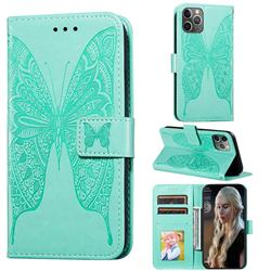Intricate Embossing Vivid Butterfly Leather Wallet Case for iPhone 11 Pro Max (6.5 inch) - Green