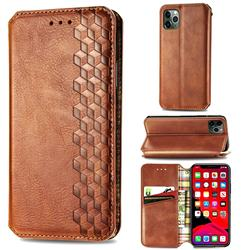 Ultra Slim Fashion Business Card Magnetic Automatic Suction Leather Flip Cover for iPhone 11 Pro Max (6.5 inch) - Brown