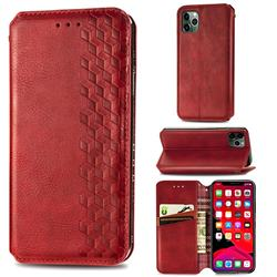 Ultra Slim Fashion Business Card Magnetic Automatic Suction Leather Flip Cover for iPhone 11 Pro Max (6.5 inch) - Red