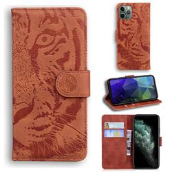 Intricate Embossing Tiger Face Leather Wallet Case for iPhone 11 Pro Max (6.5 inch) - Brown