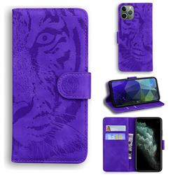 Intricate Embossing Tiger Face Leather Wallet Case for iPhone 11 Pro Max (6.5 inch) - Purple