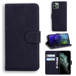 Retro Classic Skin Feel Leather Wallet Phone Case for iPhone 11 Pro Max (6.5 inch) - Black
