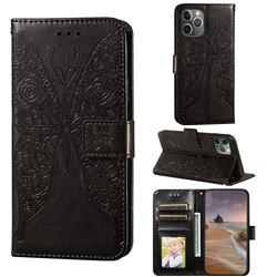 Intricate Embossing Rose Flower Butterfly Leather Wallet Case for iPhone 11 Pro Max (6.5 inch) - Black