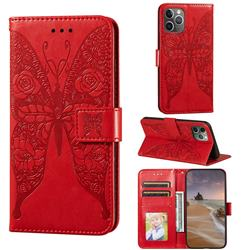 Intricate Embossing Rose Flower Butterfly Leather Wallet Case for iPhone 11 Pro Max (6.5 inch) - Red