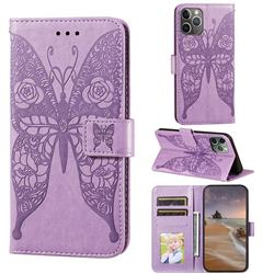 Intricate Embossing Rose Flower Butterfly Leather Wallet Case for iPhone 11 Pro Max (6.5 inch) - Purple