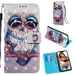 Sweet Gray Owl 3D Painted Leather Wallet Case for iPhone 11 Pro Max (6.5 inch)