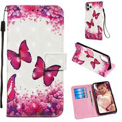 Rose Butterfly 3D Painted Leather Wallet Case for iPhone 11 Pro Max (6.5 inch)
