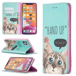 Hand Up Cat Slim Magnetic Attraction Wallet Flip Cover for iPhone 11 Pro Max (6.5 inch)