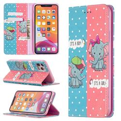 Elephant Boy and Girl Slim Magnetic Attraction Wallet Flip Cover for iPhone 11 Pro Max (6.5 inch)