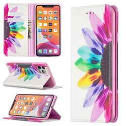 Sun Flower Slim Magnetic Attraction Wallet Flip Cover for iPhone 11 Pro Max (6.5 inch)