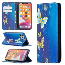 Gold Butterfly Slim Magnetic Attraction Wallet Flip Cover for iPhone 11 Pro Max (6.5 inch)