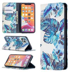 Blue Leaf Slim Magnetic Attraction Wallet Flip Cover for iPhone 11 Pro Max (6.5 inch)