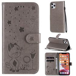 Embossing Bee and Cat Leather Wallet Case for iPhone 11 Pro Max (6.5 inch) - Gray