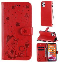 Embossing Bee and Cat Leather Wallet Case for iPhone 11 Pro Max (6.5 inch) - Red