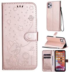 Embossing Bee and Cat Leather Wallet Case for iPhone 11 Pro Max (6.5 inch) - Rose Gold
