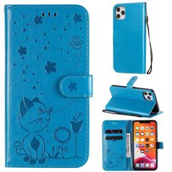 Embossing Bee and Cat Leather Wallet Case for iPhone 11 Pro Max (6.5 inch) - Blue