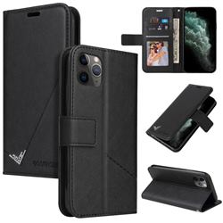 GQ.UTROBE Right Angle Silver Pendant Leather Wallet Phone Case for iPhone 11 Pro Max (6.5 inch) - Black