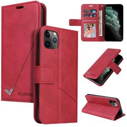 GQ.UTROBE Right Angle Silver Pendant Leather Wallet Phone Case for iPhone 11 Pro Max (6.5 inch) - Red