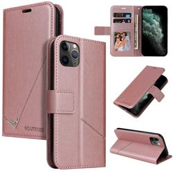 GQ.UTROBE Right Angle Silver Pendant Leather Wallet Phone Case for iPhone 11 Pro Max (6.5 inch) - Rose Gold