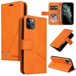 GQ.UTROBE Right Angle Silver Pendant Leather Wallet Phone Case for iPhone 11 Pro Max (6.5 inch) - Orange