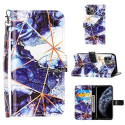Starry Blue Stitching Color Marble Leather Wallet Case for iPhone 11 Pro Max (6.5 inch)