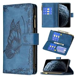 Binfen Color Imprint Vivid Butterfly Buckle Zipper Multi-function Leather Phone Wallet for iPhone 11 Pro Max (6.5 inch) - Blue