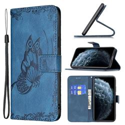 Binfen Color Imprint Vivid Butterfly Leather Wallet Case for iPhone 11 Pro Max (6.5 inch) - Blue