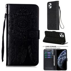 Embossing Dream Catcher Mandala Flower Leather Wallet Case for iPhone 11 Pro Max (6.5 inch) - Black