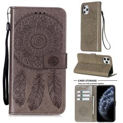 Embossing Dream Catcher Mandala Flower Leather Wallet Case for iPhone 11 Pro Max (6.5 inch) - Gray