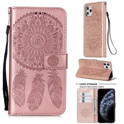 Embossing Dream Catcher Mandala Flower Leather Wallet Case for iPhone 11 Pro Max (6.5 inch) - Rose Gold
