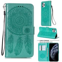Embossing Dream Catcher Mandala Flower Leather Wallet Case for iPhone 11 Pro Max (6.5 inch) - Green