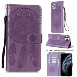Embossing Dream Catcher Mandala Flower Leather Wallet Case for iPhone 11 Pro Max (6.5 inch) - Purple