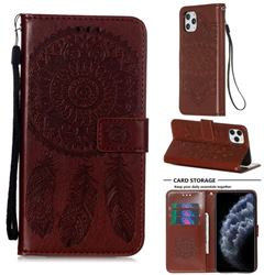 Embossing Dream Catcher Mandala Flower Leather Wallet Case for iPhone 11 Pro Max (6.5 inch) - Brown