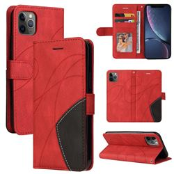 Luxury Two-color Stitching Leather Wallet Case Cover for iPhone 11 Pro Max (6.5 inch) - Red