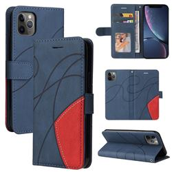Luxury Two-color Stitching Leather Wallet Case Cover for iPhone 11 Pro Max (6.5 inch) - Blue