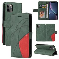 Luxury Two-color Stitching Leather Wallet Case Cover for iPhone 11 Pro Max (6.5 inch) - Green