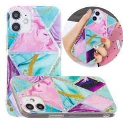 Triangular Marble Painted Galvanized Electroplating Soft Phone Case Cover for iPhone 12 mini (5.4 inch)